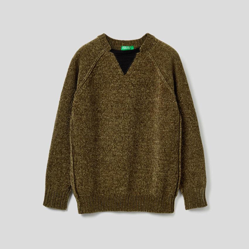 Pullover aus Chenille mit Details in einer Kontrastfarbe