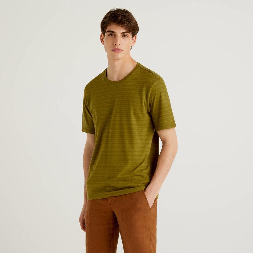 T-Shirt aus einer Leinenmischung mit Streifen