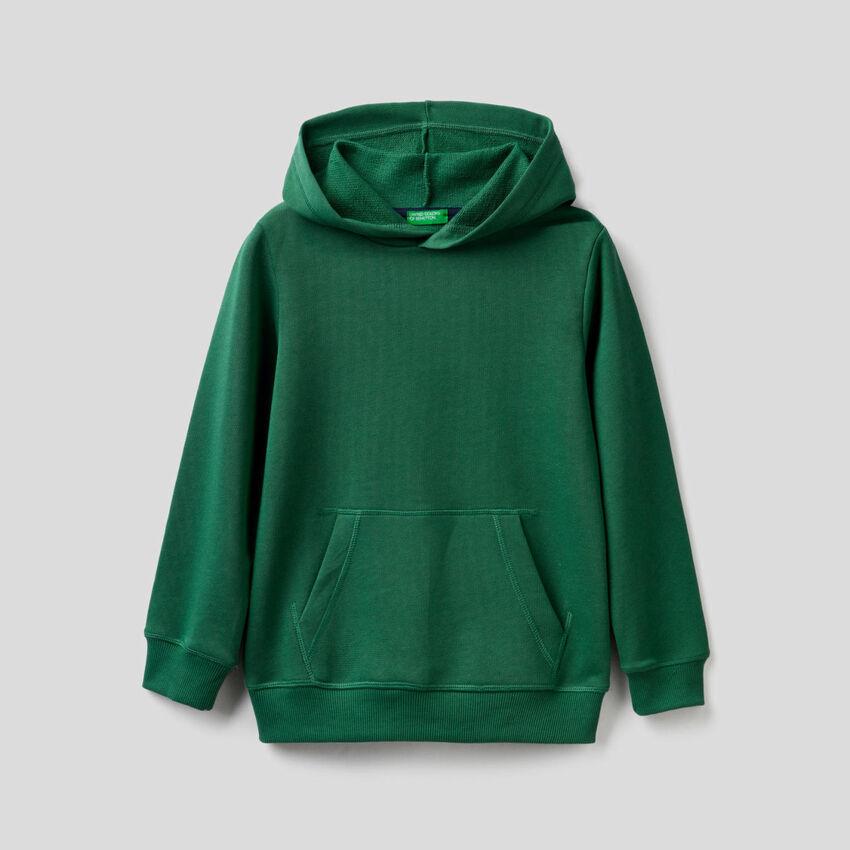 Dunkelgrünes Sweatshirt mit Kapuze