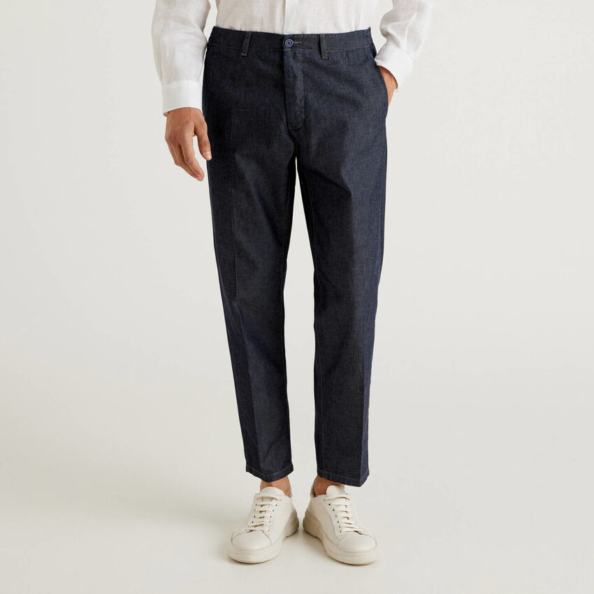 Hose aus Chambray in Baumwolle