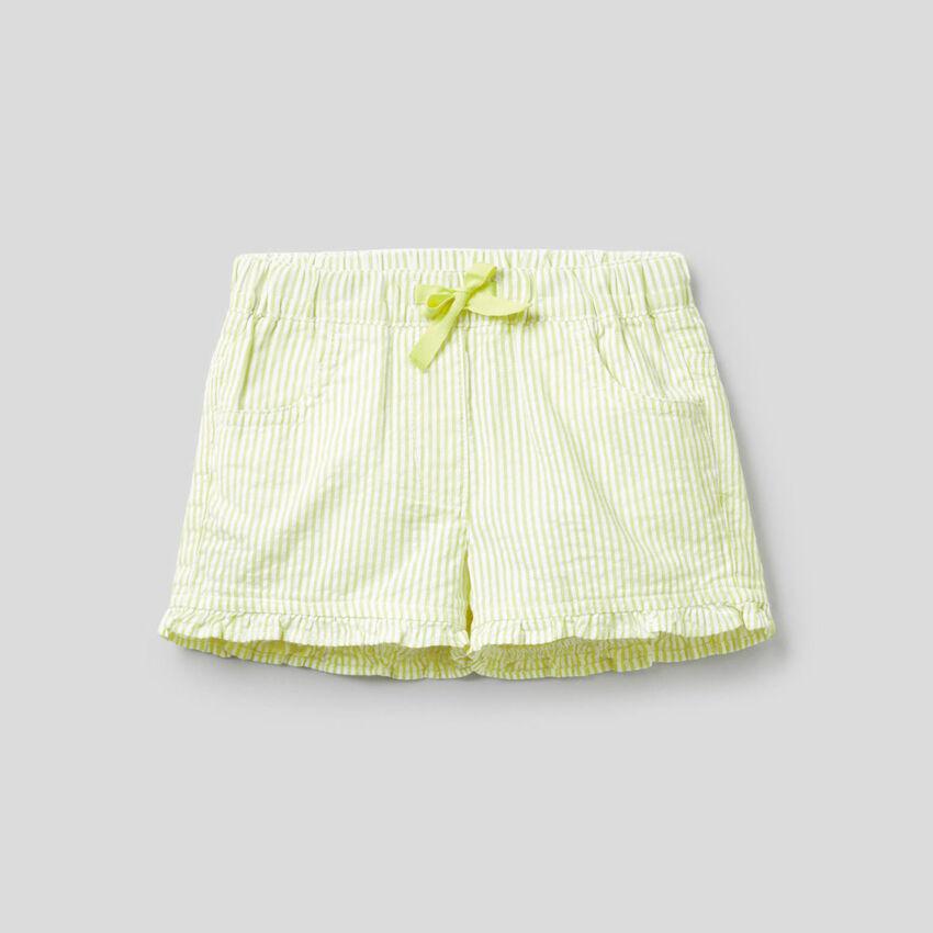 Gestreifte Shorts aus 100% Baumwolle in Gelb