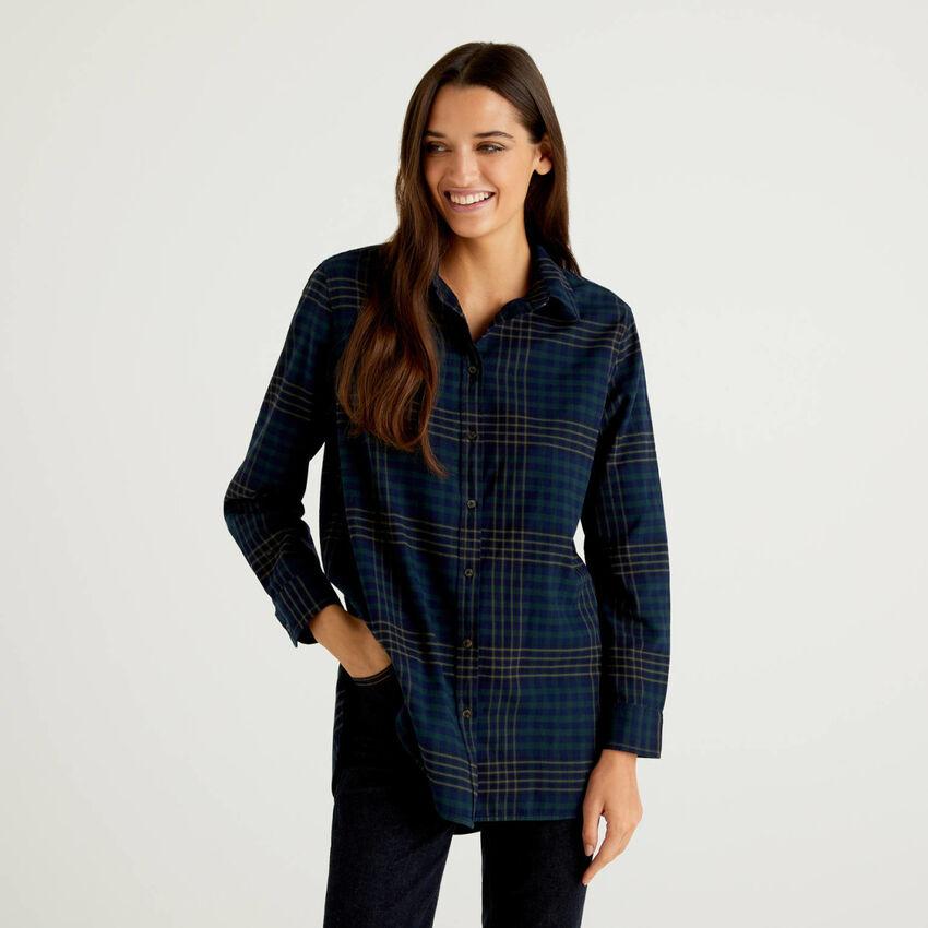 Bluse aus 100% Baumwolle mit Karomuster