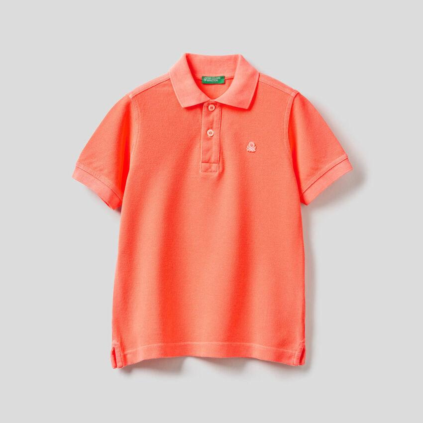 Neonfarbenes Polo in reiner Baumwolle