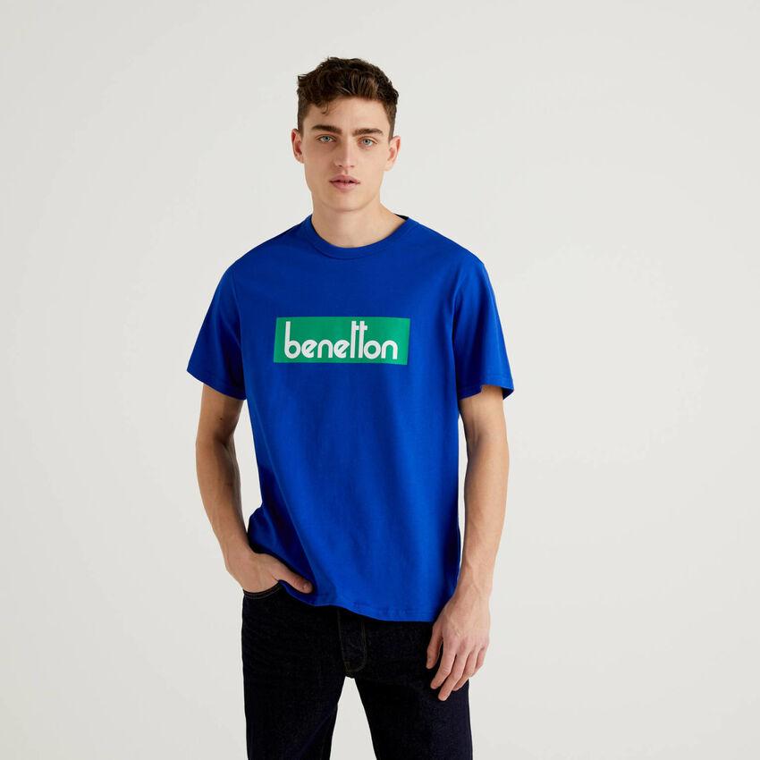 T-Shirt in Bluette mit Logoprint