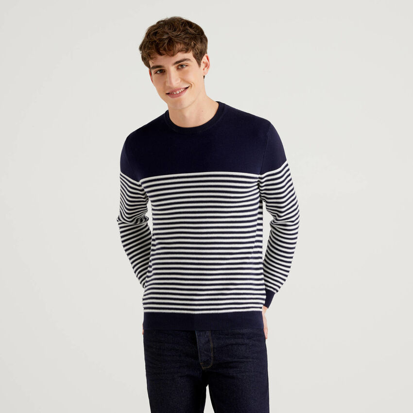 Pullover aus 100% Baumwolle mit Rundhals und Streifenmuster