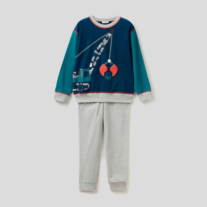 Pyjama aus stretchiger Baumwolle mit Print