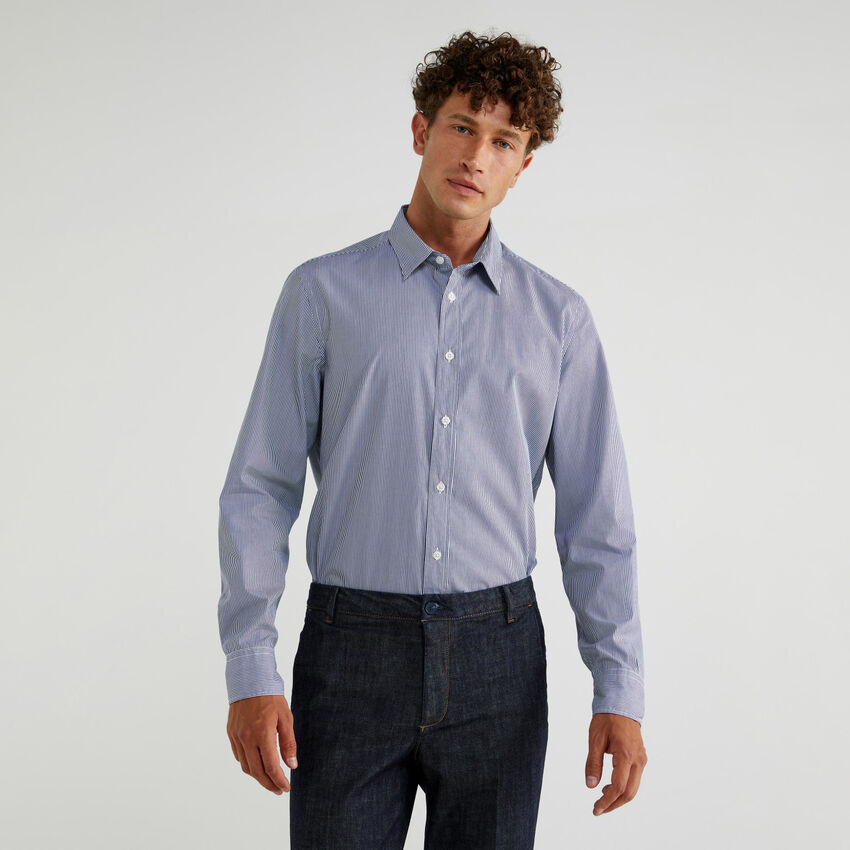 Hemd aus Baumwolle in durchgefärbtem Garn