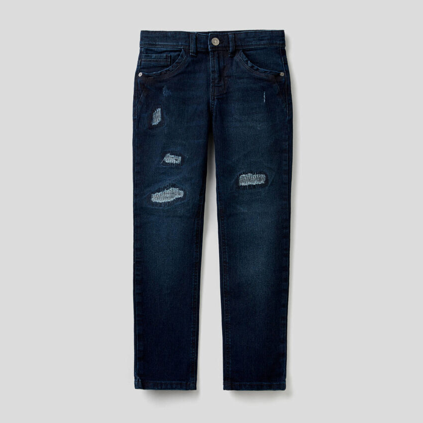 Slim-Fit-Jeans im Used-Effekt
