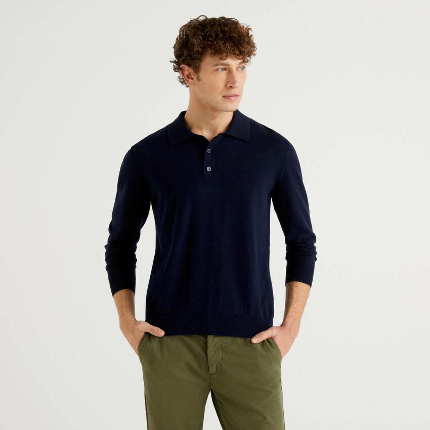 Polo in einer Mischung aus Baumwolle und Cashmere