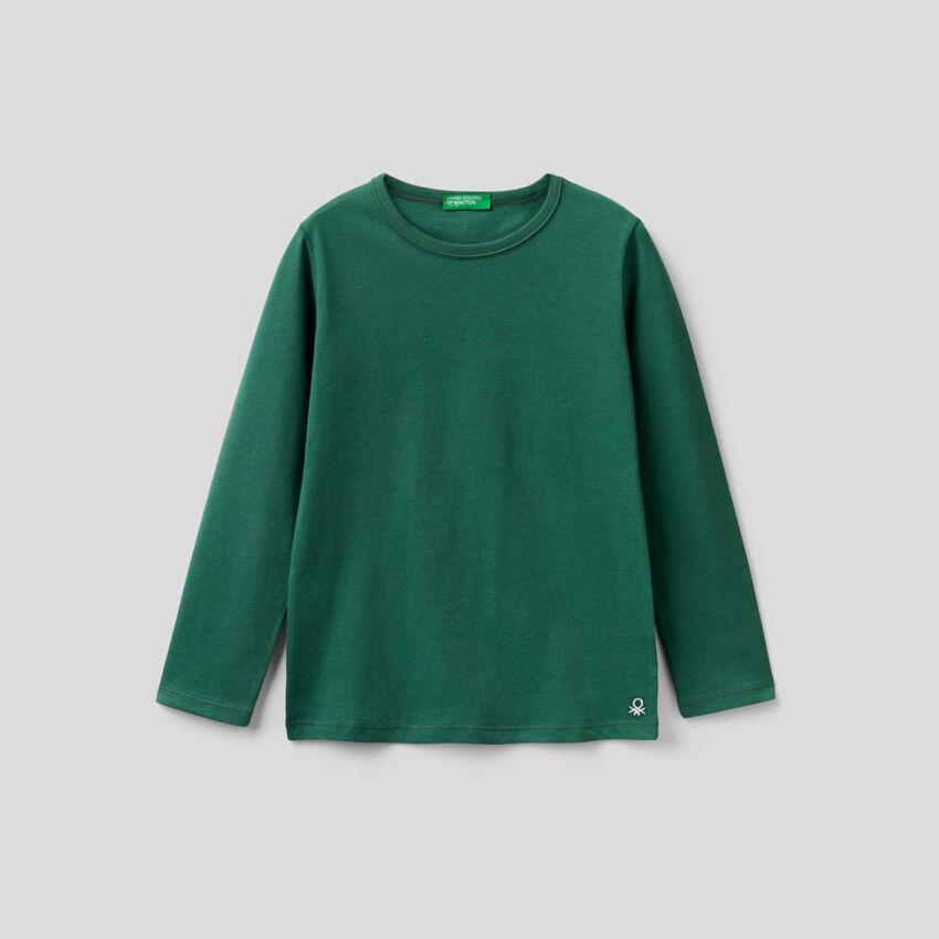 Dunkelgrünes T-Shirt mit langen Ärmeln