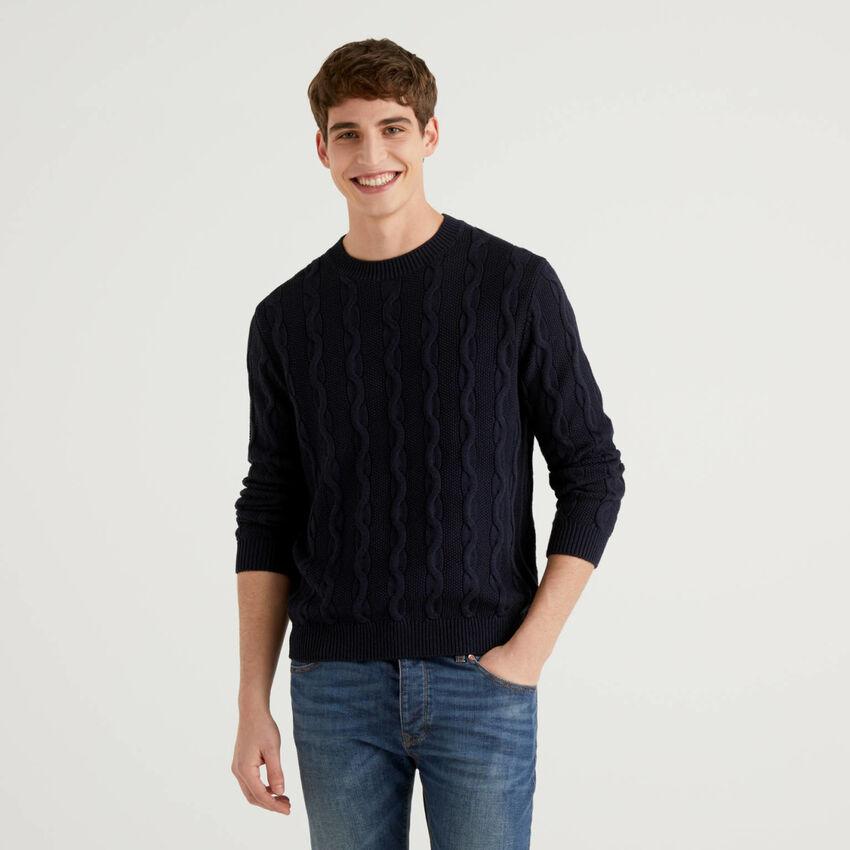 Pullover mit Rundausschnitt und Flechtmuster