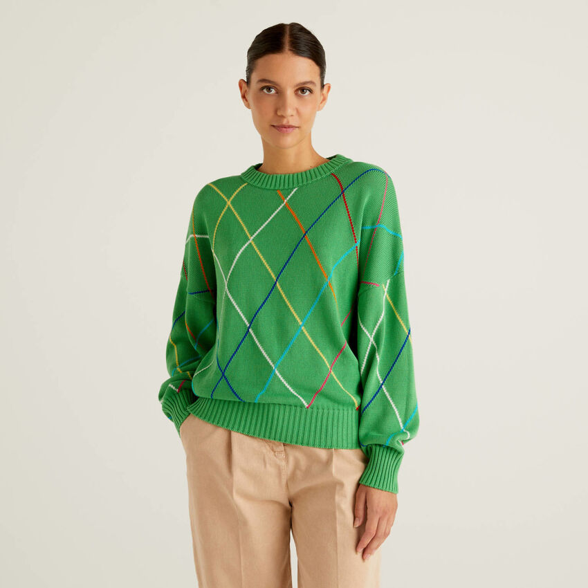 Pullover mit buntem Rautenmuster