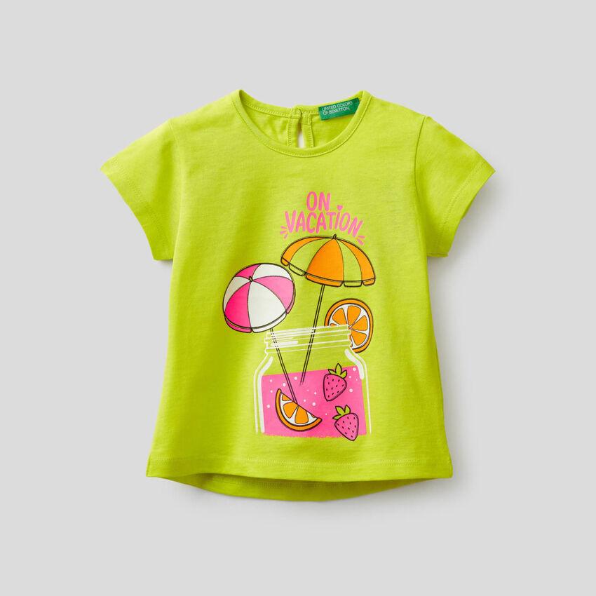 T-Shirt mit Fluo-Print