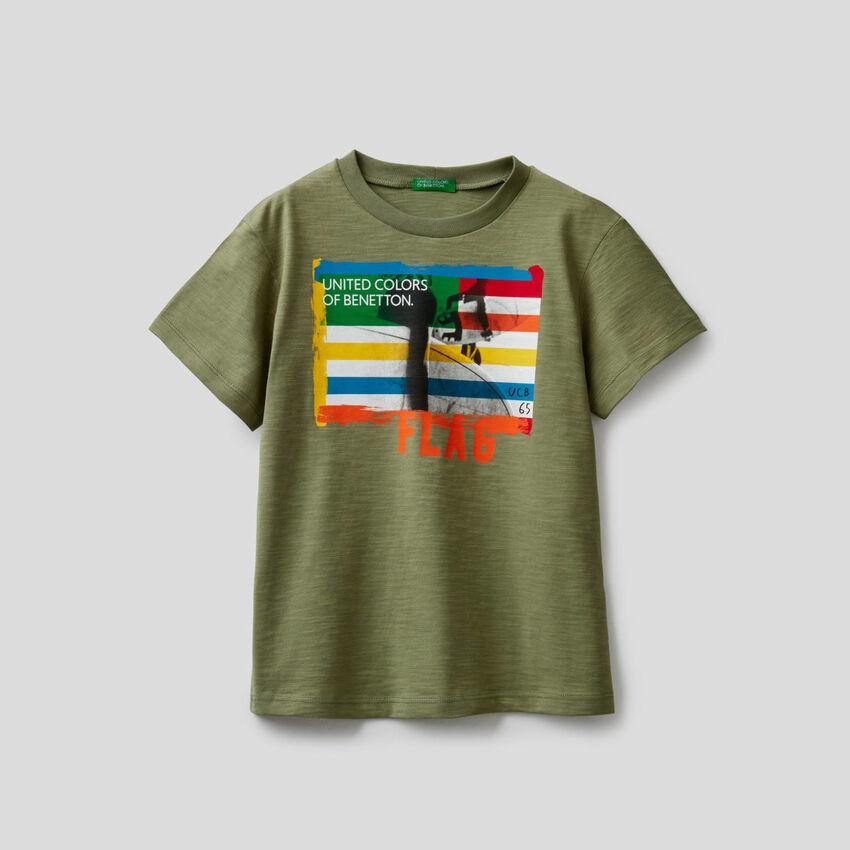 T-Shirt aus Baumwolle mit Surf-Print