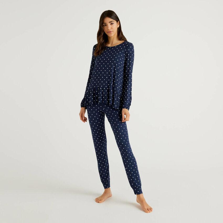 Gemusterter Pyjama aus stretchiger Viskose