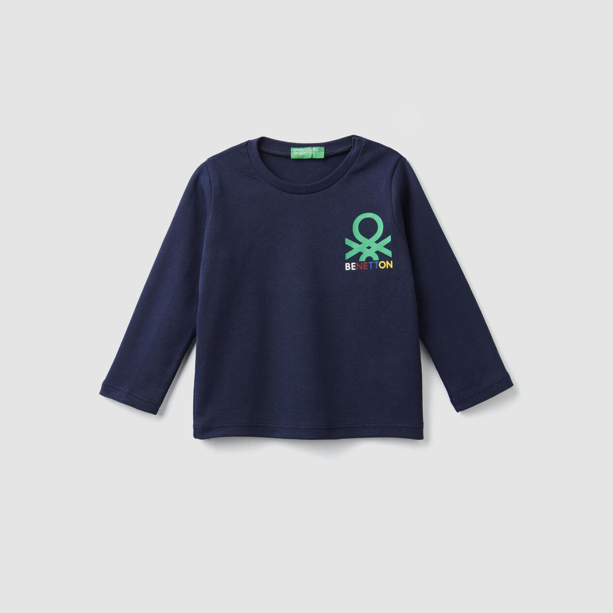 T-Shirt im Rippenmuster mit aufgedrucktem Logo
