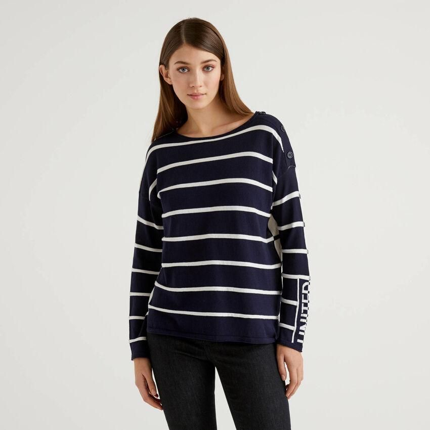 Gestreifter Pullover aus 100% Baumwolle