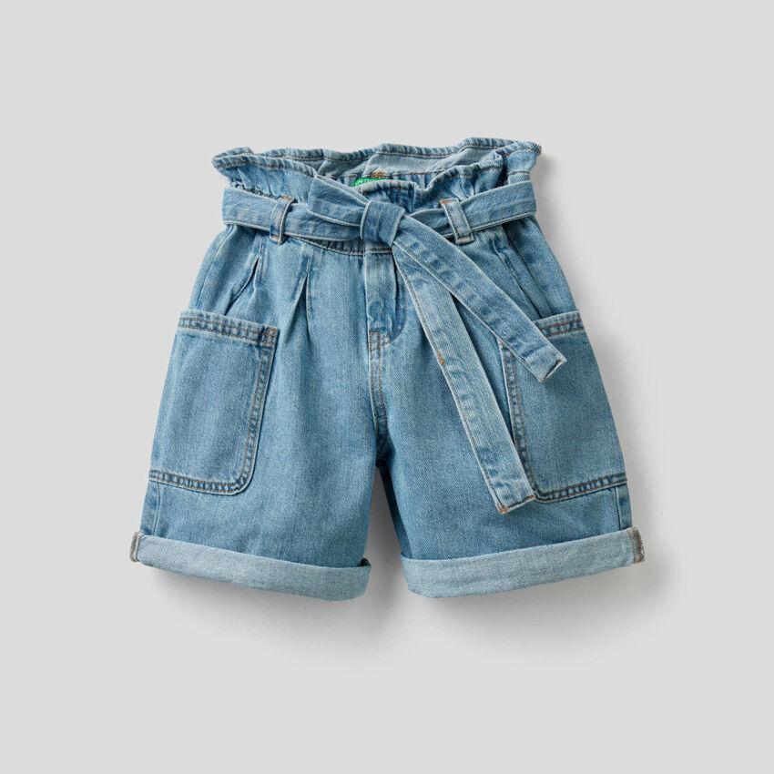 Shorts aus Denim in reiner Baumwolle