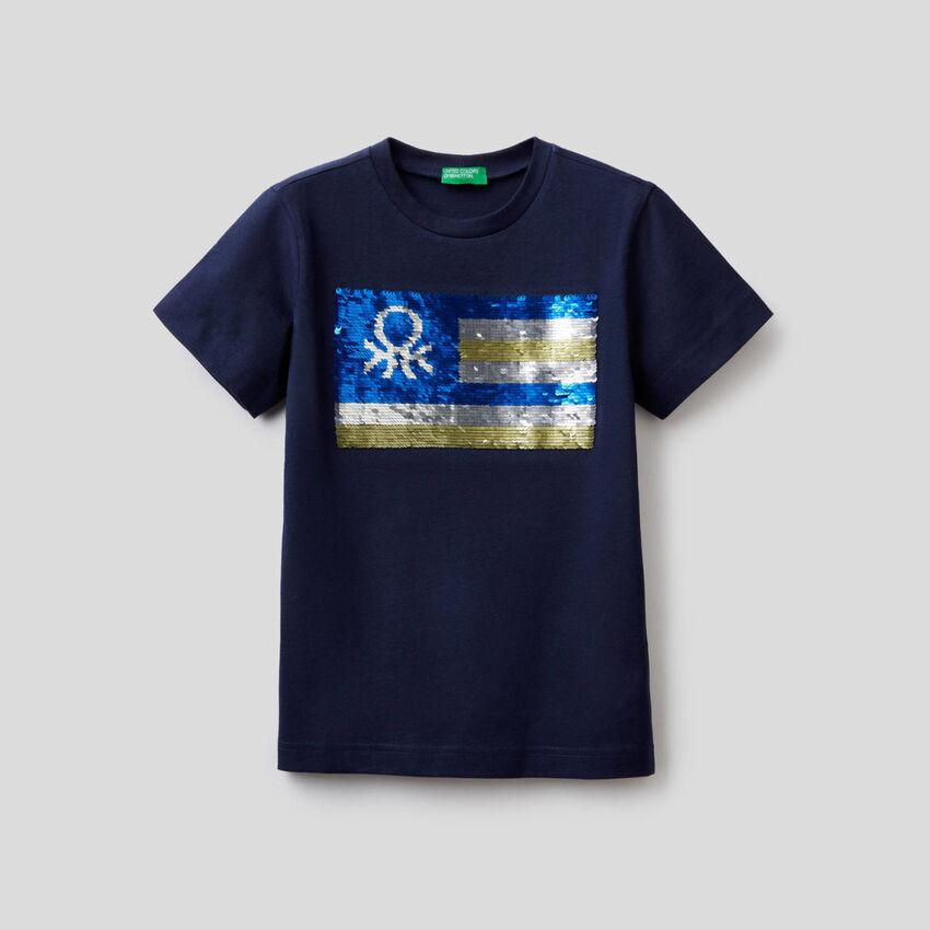 T-Shirt aus reiner Baumwolle mit Pailletten