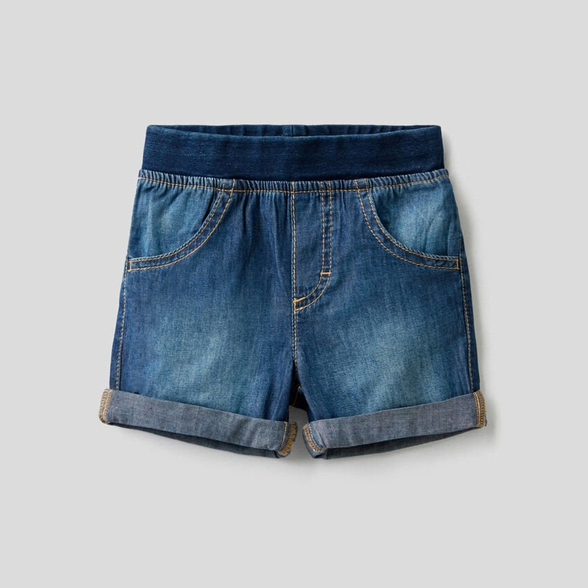 Bermudas mit Jeans-Effekt und elastischem Bund