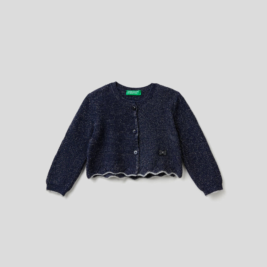 Offener Pullover mit Lurex