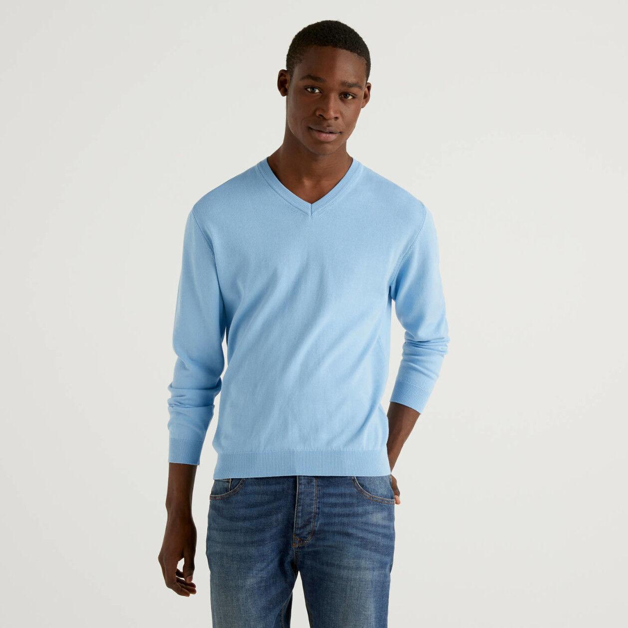 Pullover mit V-Ausschnitt aus Baumwolle