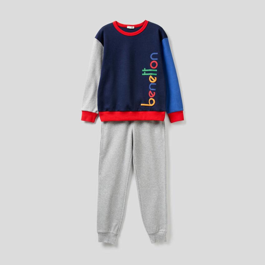 Pyjama mit Farbblöcken aus reiner Baumwolle