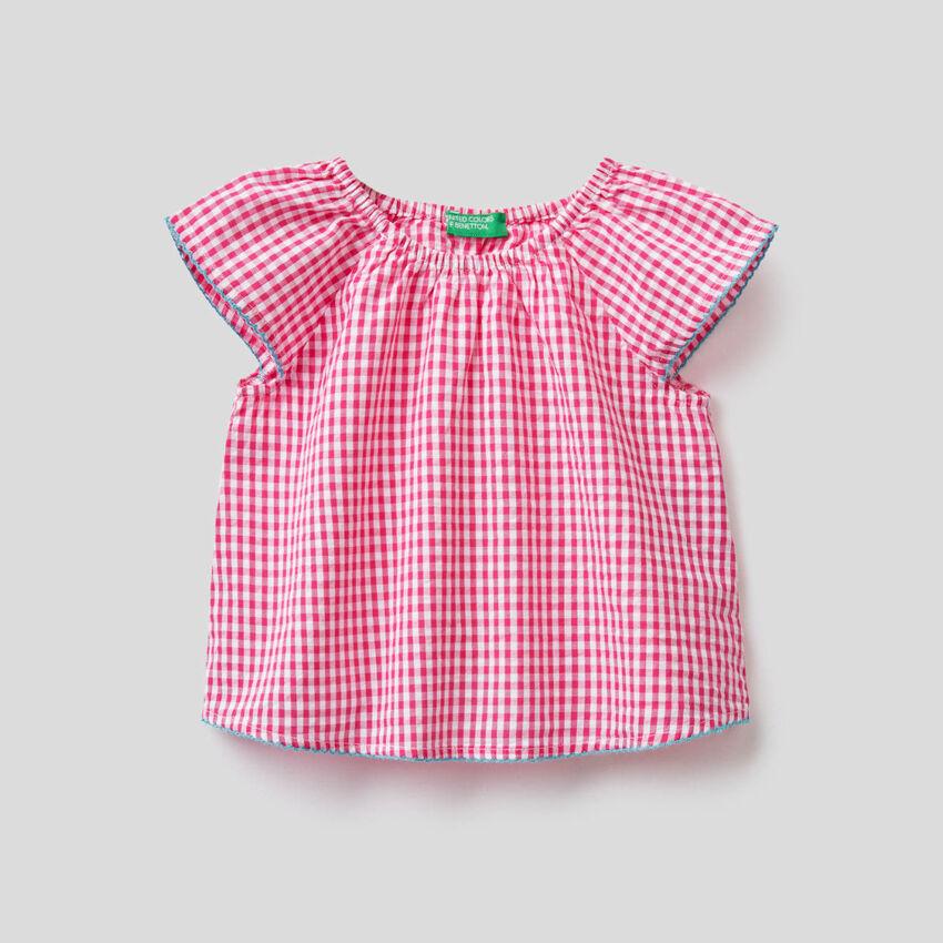 Bluse aus 100% Baumwolle mit Vichy-Muster