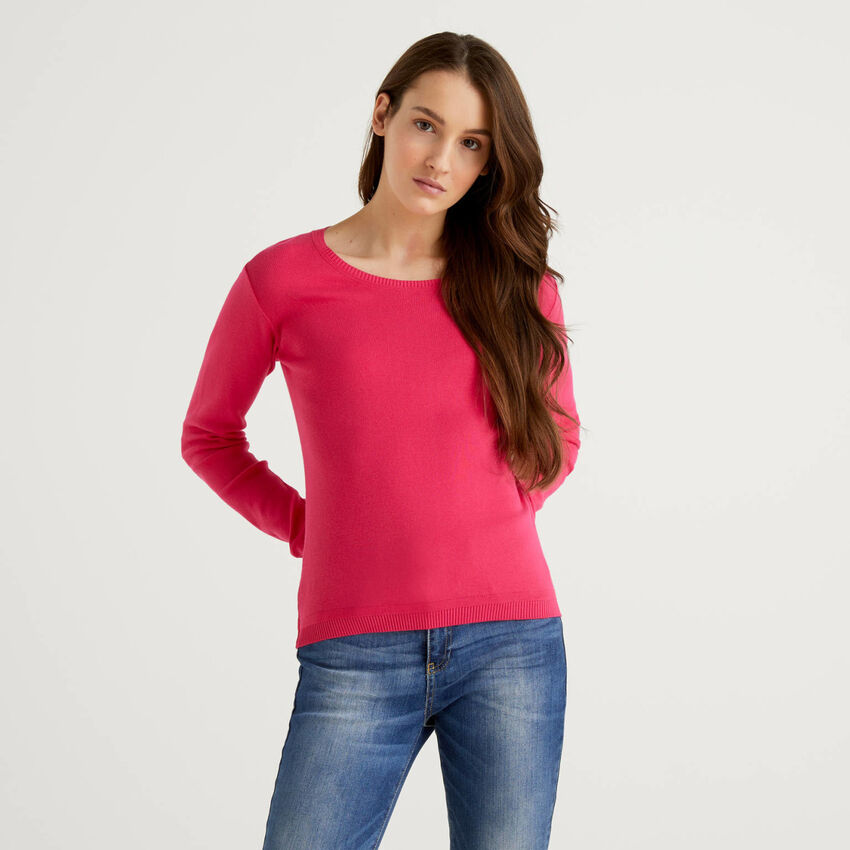 Pullover aus reiner Baumwolle mit Rundausschnitt