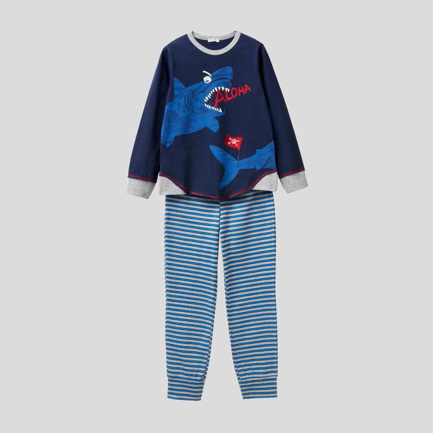 Pyjama mit lumineszierendem Print