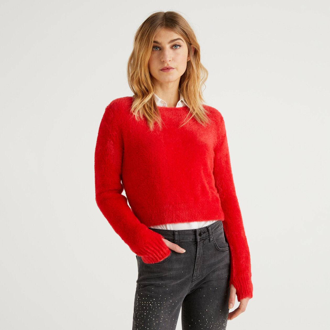 Pullover aus Langhaar-Garn