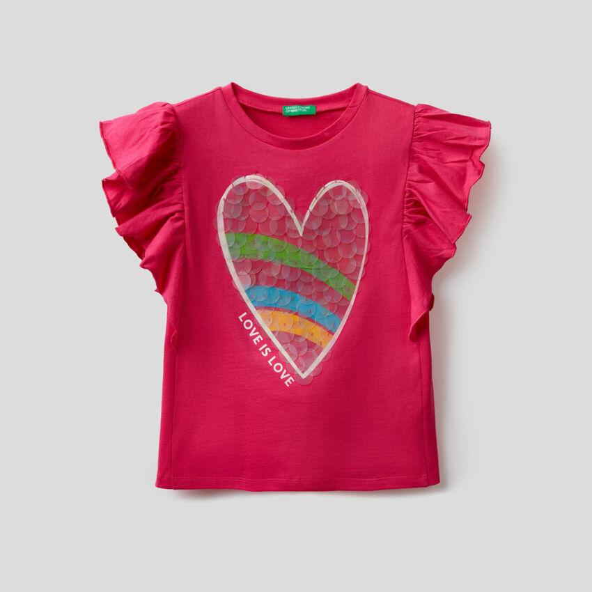 T-Shirt mit Volant-Ärmeln