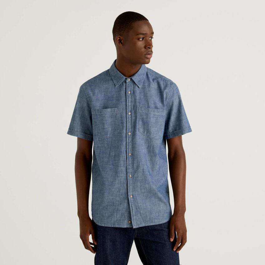 Hemd mit Jeans-Effekt und kurzen Ärmeln