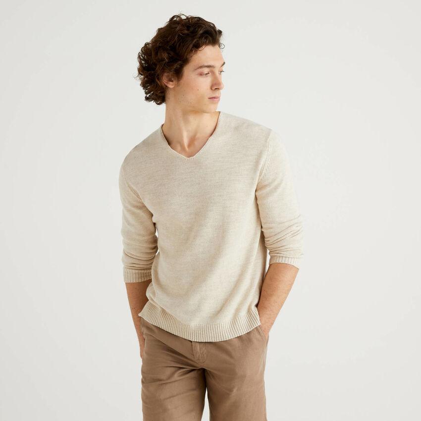 Pullover mit V-Ausschnitt aus Baumwolle und Leinen