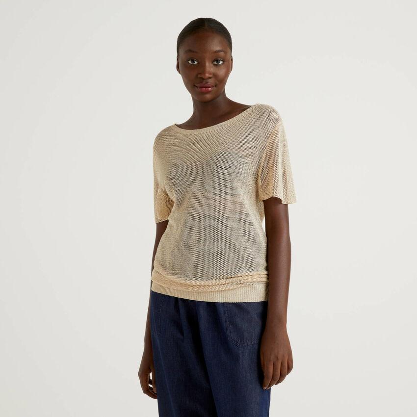 Pullover aus Netzstoff mit Lurex
