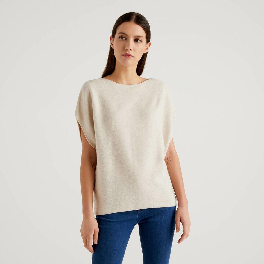 Pullover aus 100% Baumwolle mit kurzen Ärmeln