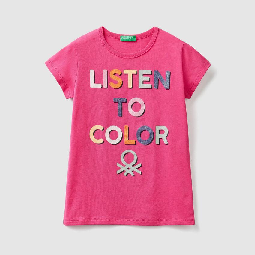 T-Shirt mit aufgedrucktem Glitter-Logo