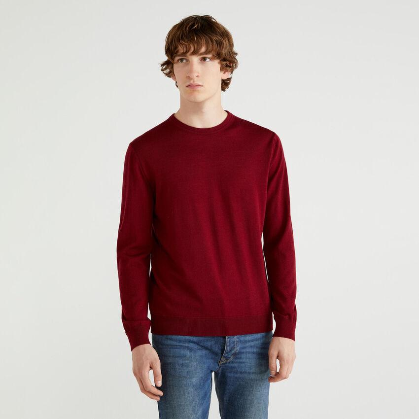 Pullover aus reiner Wolle Merino Extra Fine mit Rundhals