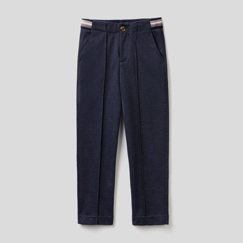 Slim-Fit-Chinos mit Mikromuster
