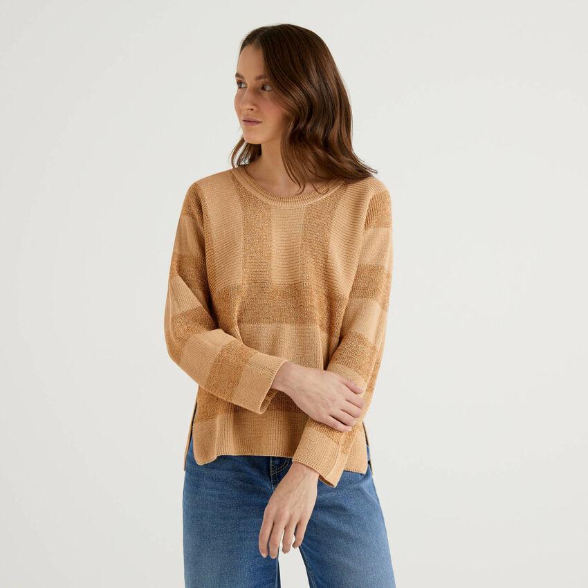 Pullover mit Streifen und Lurexfaden