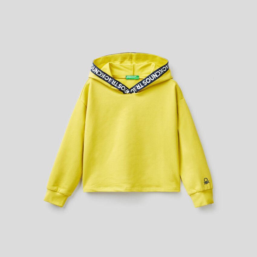 Cropped-Sweatshirt in stretchiger Bio-Baumwolle