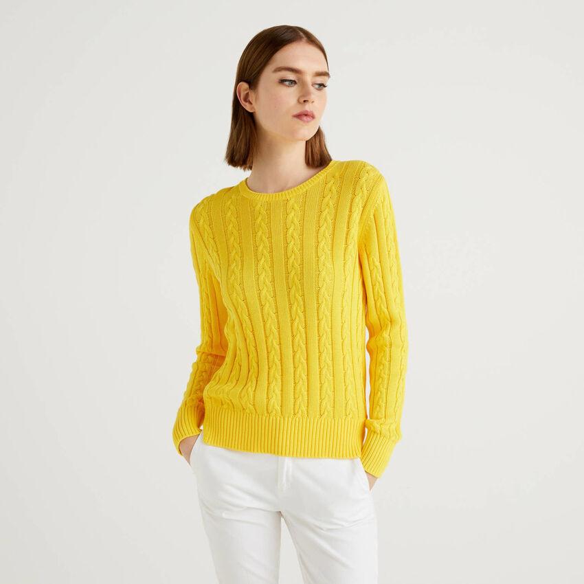 Pullover aus Baumwolle mit Verarbeitung im Flechtmuster