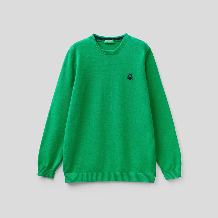 Pullover aus reiner Baumwolle mit Logo