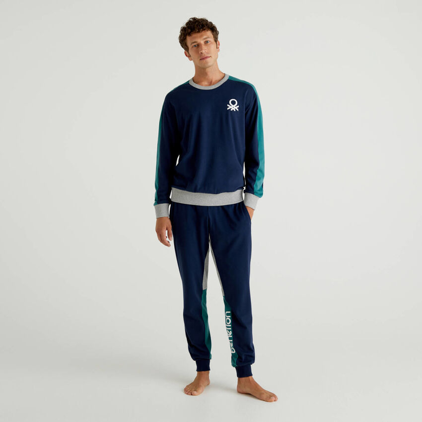 Pyjama aus Baumwolle mit Logo-Bändern
