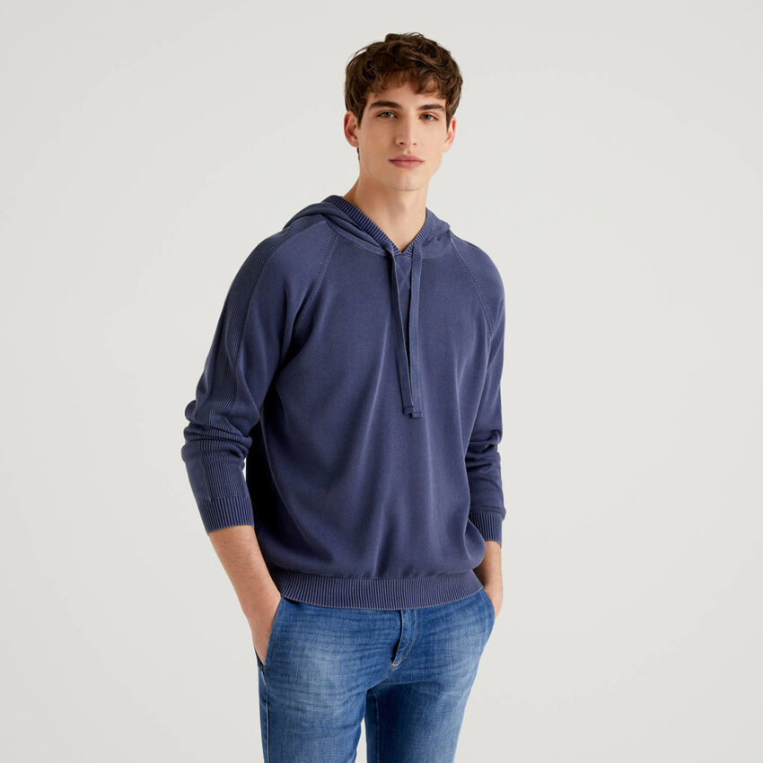 Pullover aus reiner Baumwolle mit Kapuze
