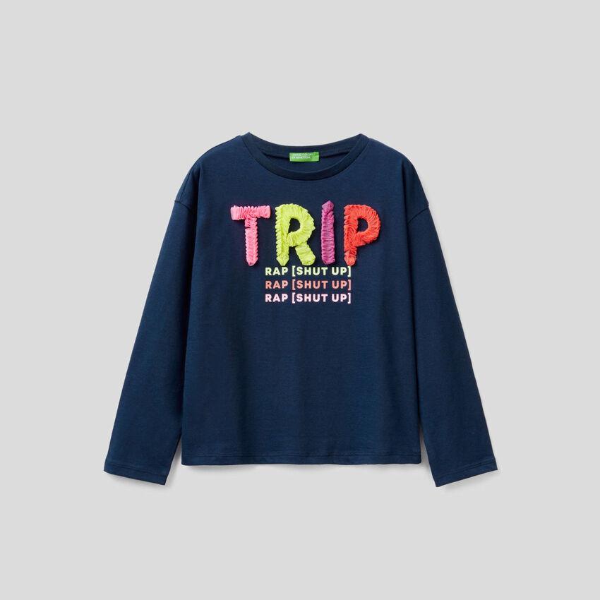 T-Shirt mit Glitterprint und Blütenblatt-Design