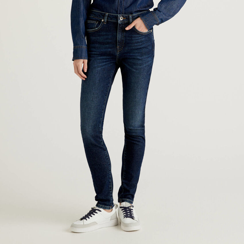 Skinny-Fit Jeans mit hohem Bund