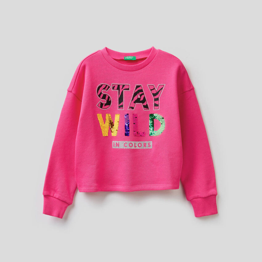 Sweatshirt aus Baumwolle mit Pailletten