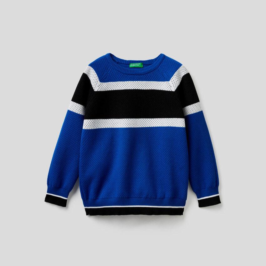 Pullover mit Streifen in Kontrastfarbe