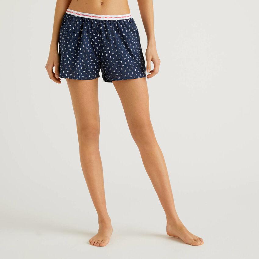 Gemusterte Shorts aus reiner Baumwolle